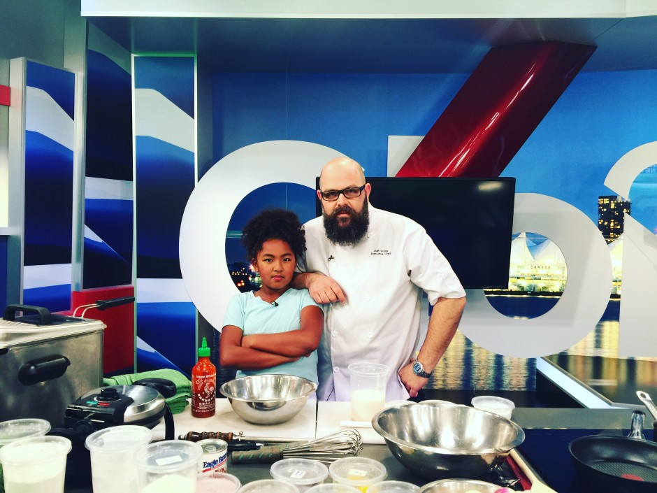 Black+Blue's Chef Josh Wolfe & Jr. Chef Amarya WIN Global TV Junior Chef Challenge