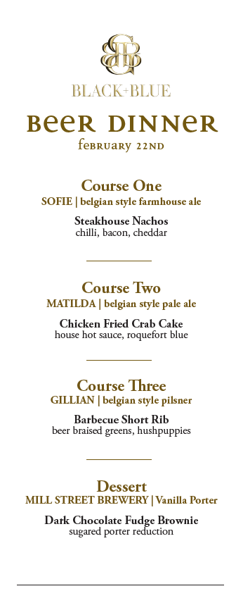 bb - beer dinner menu