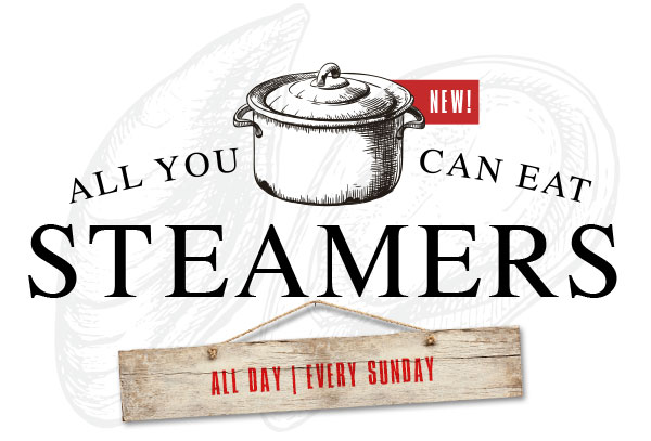 All you can eat Steamers on Sundays at The Fish Shack!