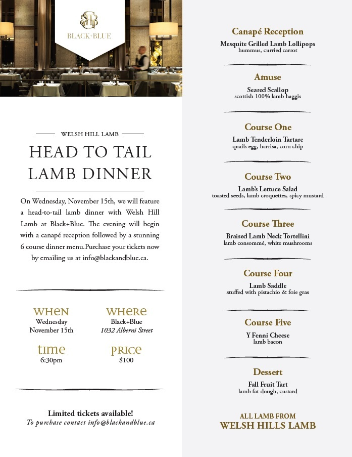 Black+Blue Head to Tail Lamb Dinner