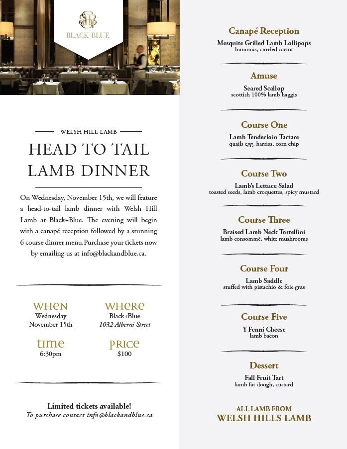Black+Blue Head to Tail Lamb Dinner
